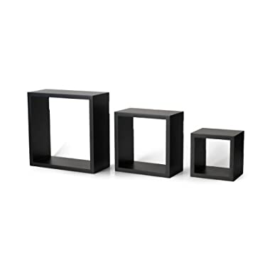 Melannco Set of 3 Square Wood Shelves, Black