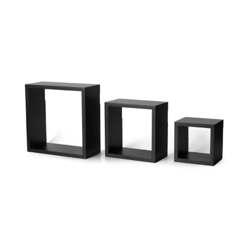 Shelves, Set of 3, Black (Black Wood Shelf)