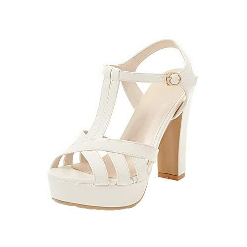 VogueZone009 Women High-Heels Solid Buckle Pu Open-Toe Sandals, CCALP014979 White
