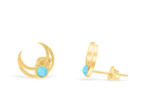 (ONDAISY 14k Gold Plated Round Lab Synthetic Simulated Created Blue Opal Bead Bridal Gypsy Half Crescent Sailor Luna Moon Ears Studs Post Earrings For Women Teen Girls Children Jewelry)