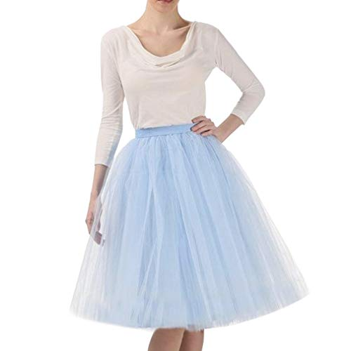 WDPL Adult A-line Tulle Skirt Bridesmaid Petticoat Tutu for Women (X-Small, Light Blue) -