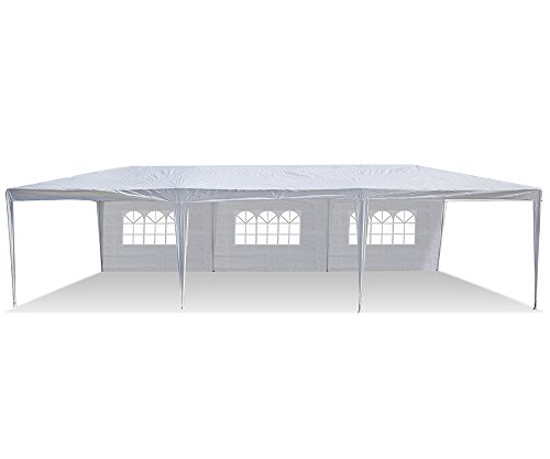 Den Haven Party Tent Canopy with Removable Sidewalls and Zipper Doorways (10x30 Feet)