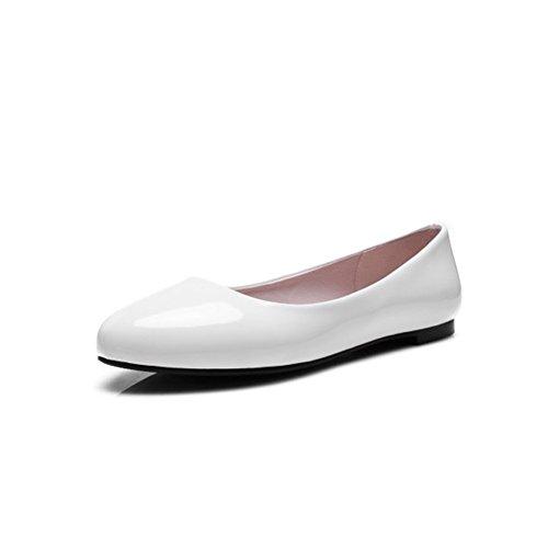 Exing Zapatos de Mujer Artificial PU Primavera Verano Comfort Boca Baja Zapatos Individuales Para Mujer Zapatos Planos Blanco Rojo Negro Rosa A