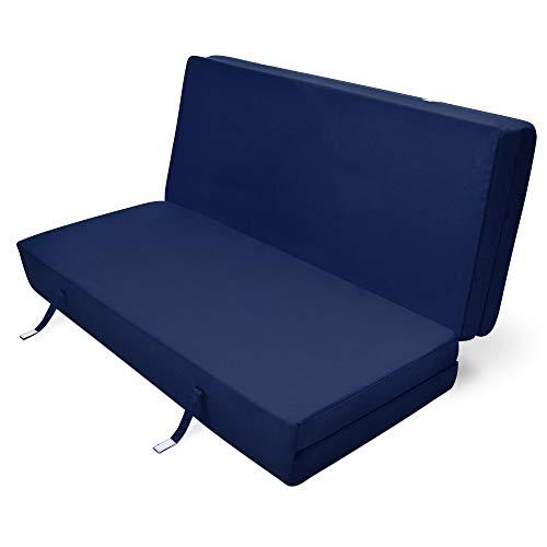 Beautissu Cómodo colchón Plegable Campix Auxiliar futón 120 x 195 x 7 cm Ahorra Espacio Tela Microfibra Azul Marino
