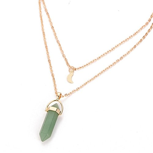 Natural Stone Glass Hexagonal Necklace Fashion Double Moon Crescent Bullets Pendant Necklace,Green ()