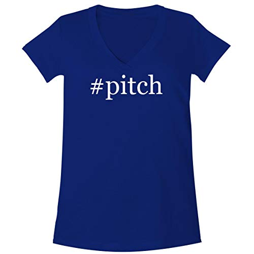 The Town Butler #Pitch - A Soft & Comfortable Women's V-Neck T-Shirt, Blue, Large