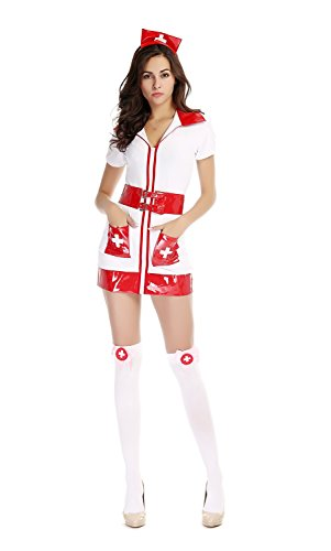 [Bulacker Nurse Costumes Halloween Cosplay Dress Game Uniforms Temptation,white] (Clever Halloween Costumes Couple)