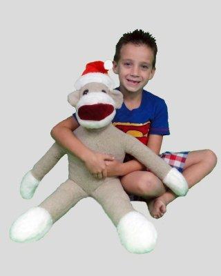 "Ultimate Plush 28"" Large Stuffed Grey and White Sock Monkey With Santa Hat"