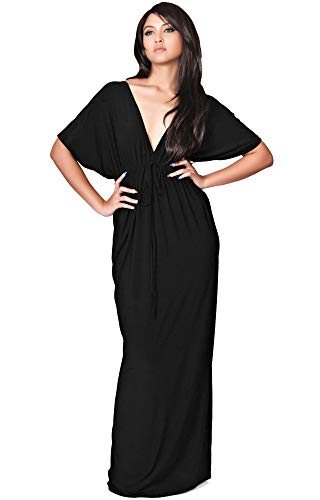 KOH KOH Plus Size Womens Long Sexy Kimono Short Sleeve Casual V-neck Maternity Cocktail Summer Cute Flowy Kaftan Sundress Sundresses Gown Gowns Maxi Dress Dresses, Black 2 X 18-20 - Black Kimono Dress