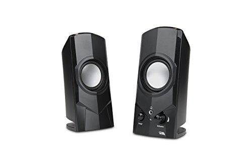 Cyber Acoustics Surround 2-Piece Powered Speaker System Bookshelf Home Speaker, Set of 2, Black (CA-21)