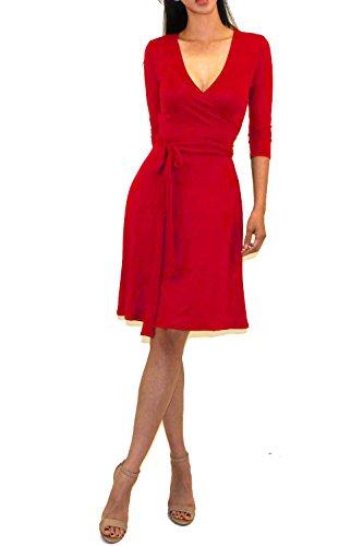 Vivicastle Women's Printed V-Neck 3/4 Sleeve Faux Wrap Waist Tie Midi Dress (DD63, red, Small)
