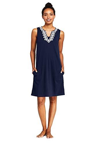 Lands' End Women's Cotton Jersey Embellished Sleeveless Swim Cover-up - Sleeveless Cotton Jersey