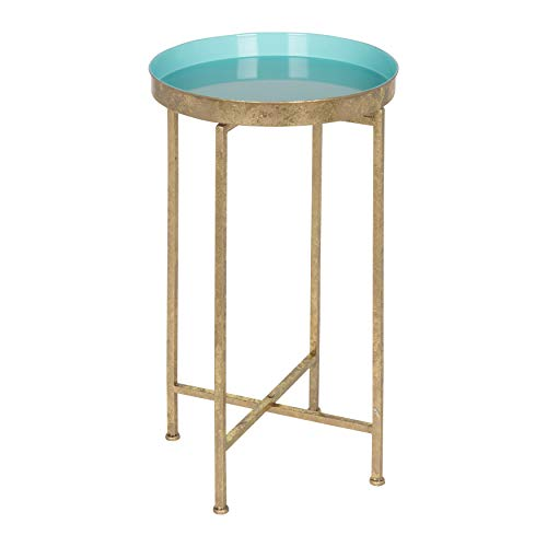 Kate and Laurel 212373 Celia Round Metal Foldable Tray Accent Table, Gold/Light Teal ()