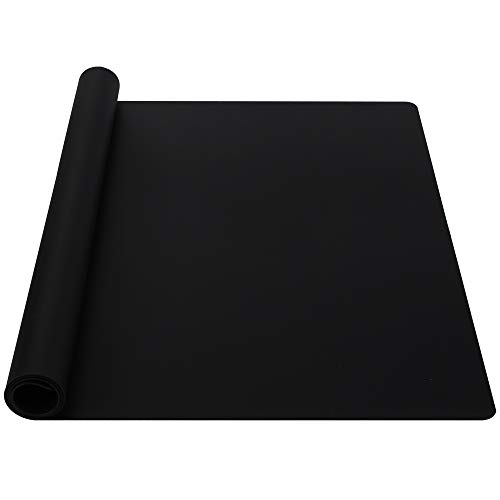 Webake Extra Large Silicone Mat For Countertop, Multipurpose Nonstick Heat Resistant Mat 23.6' x 15.7' for Baking, Rolling Dough, Fondant, Resin Expoxy, Craft, Jewerly (Black)