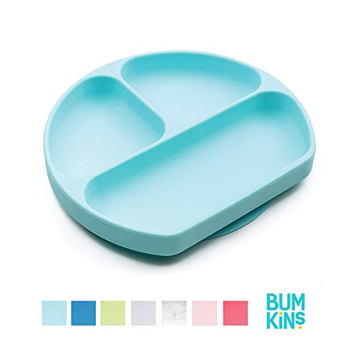 Bumkins Silicone Grip Dish, Suction Plate, Divided Plate, Baby Toddler Plate, BPA Free, Microwave Dishwasher Safe – Blue