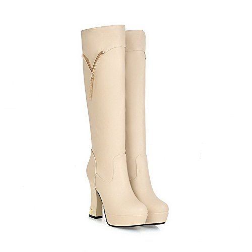 Material Round Heels Closed High Zipper Apricot Soft AgooLar Solid Toe Women's Boots SxgT5B0