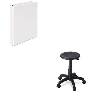 KITSAF5100UNV20962 - Value Kit - Safco Office Stool with Casters (SAF5100) and Universal Round Ring Economy Vinyl View Binder (UNV20962)