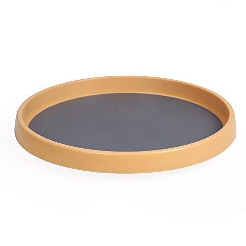 MAYER'S BEST Non-Skid Pantry Cabinet Organizer Lazy Susan Turntable, 12-Inch, Wood Color.