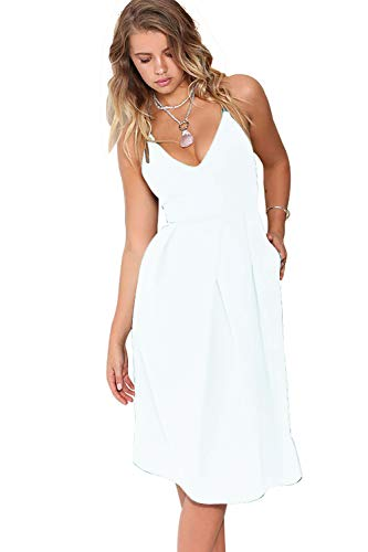 Eliacher Women's Deep V Neck Adjustable Spaghetti Straps Summer Dress Sleeveless Sexy Backless Party Dresses with Pocket (S, White)