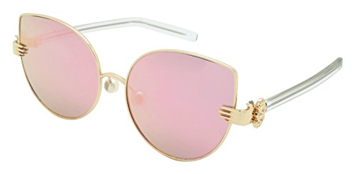 Edge I-Wear Vintage Style Cat Eye Sunnies with Flat Mirrored Lens - Sunglasses Artsy
