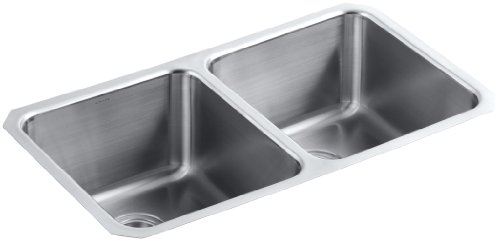 KOHLER K-3171-HCF-NA Undertone Preserve Undermount Double-Equal Bowl Kitchen Sink, Stainless Steel
