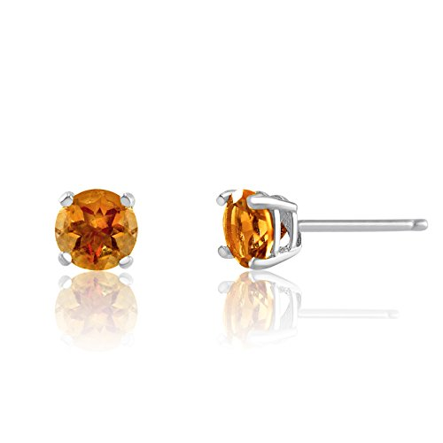 Genuine 3mm Brilliant Round Golden Citrine Rhodium Plated Sterling Silver Basket Setting (Brilliant Cut Citrine Earrings)