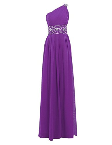 Ballkleider Purple Shoulder Fanciest Kleider Formelle Purple Beaded Lang Abendkleider Damen Brautjungferkleider One HWapOvq