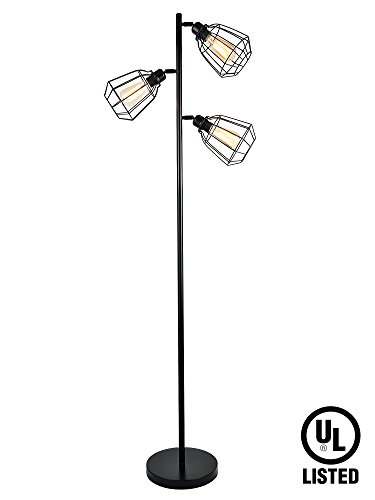 LeonLite 65inch Track Tree Floor Lamp, 3-head Torchiere Lamp Fixture with Open Cage Shades, Vintage Iron Art (Bulbs Included)