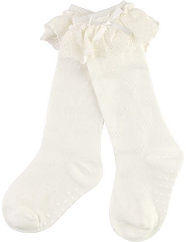 Ivory Lace Socks (HASLRA Unisex Baby Little Girls' Little Boys' Lace trim Knee High Socks 3 Pairs (IVORY))