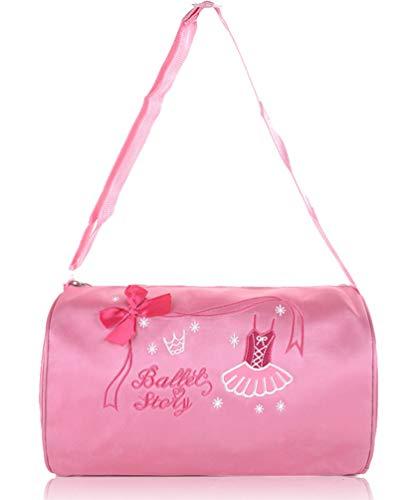 ORIDOOR Girls Ballerina Dance Duffle Bag with Bow Ballet Dress Cute Ballet Dance Bag With Embroidered Pink ()