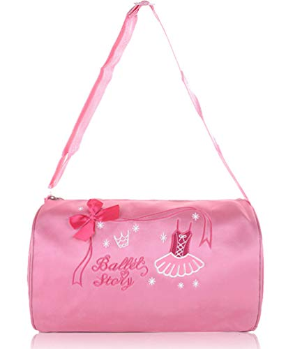 ORIDOOR Girls Ballerina Dance Duffle Bag with Bow Ballet Dress Embroidered Pink ()