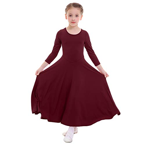 IMEKIS Girl's Kid's Classics Flowy Liturgical Praise Full Length Long Sleeve Lyrical Dance Dress Worship Praise Dance Pullover Pleated Dresses Christmas Lyrical Maxi Skirts Wine Red 3-4 Years (Detail Skirt Pleated)