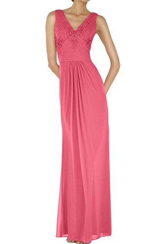 Neu V Abendmode Bodenlang Wassermelone Abendkleider Sexy Chiffon Ivydressing Ballkleid Neck Paillette Applikation Y5EUq
