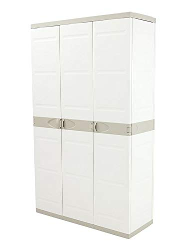 Plastiken Titanium Armoire de 3portes, (2 portes avec 4étagères et la troisième porte du type armoire à balais (sans étagères)), de 70cm de large, 44cm de profond, 176cm de haut, Beige