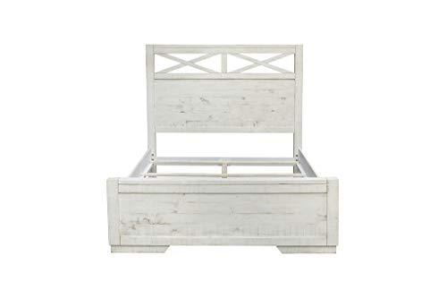 Bedroom Cottage Creek Crescent Queen 4 Piece Solid Wood Bedroom Set in Vintage White | Fully Assembled farmhouse bedroom sets
