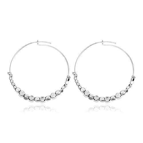(RIAH FASHION Simple Lightweight Geometric Statement Hoop Earrings - Classic Thin Wire Delicate Curved Threader Dangles Round/Pear/Horseshoe/Wood Oval (Metallic Beaded - Silver))