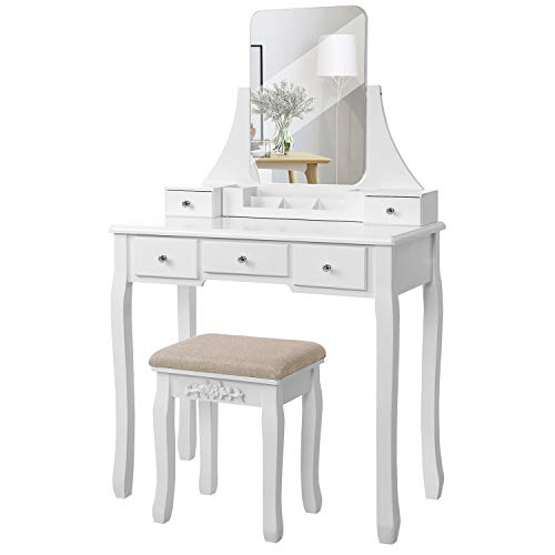 VASAGLE Vanity Table Set with Large Frameless Mirror, Makeup Dressing Table Set for Bedroom, Bathroom, 5 Drawers and 1 Removable Storage Box, Cushioned Stool, White URDT25W
