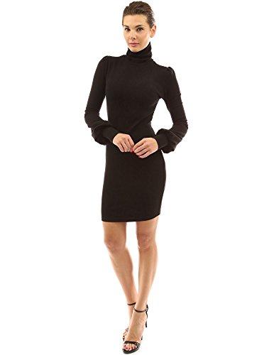 Manga Pattyboutik Vestido Obispo Alto Negro De Cuello Mujer Suéter YTxPAqwYr