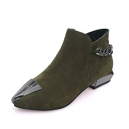 Botines de tacón Alto con Puntera en Punta para Mujer, Botines Cortos, Verde Militar, 36: Amazon.es: Zapatos y complementos