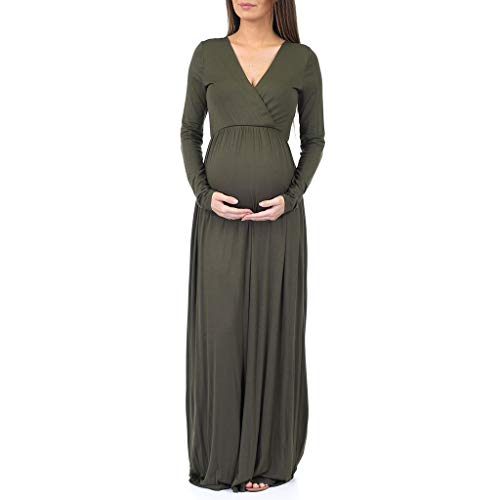 Mother Bee Maternity Womens Long Sleeve Wrap Dress by Rags and Couture Olive