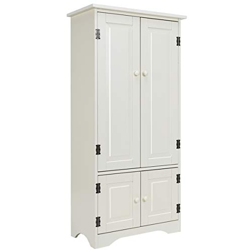 (Giantex Accent Floor Storage Cabinet Adjustable Shelves Antique 2-Door Low Floor Cabinet Pantry 24