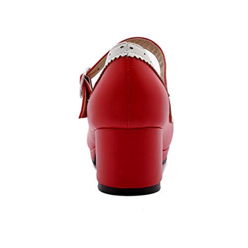 Bureau Femmes Pompes Bowknot Quotidien Jrenok rouge Talon Coeur Talons Chaussures Haut Patchwork Épais 1 Dames Boucle qFFw7d
