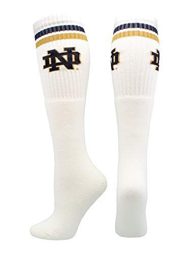 (Notre Dame Socks Fighting Irish Throwback Tube (White/Blue/Gold, Medium))
