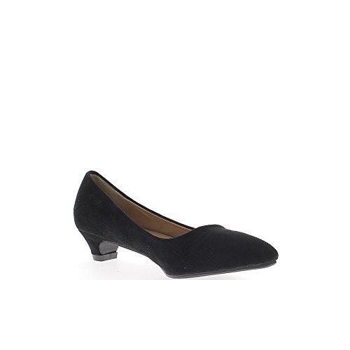 Escarpins noirs à petits talons de 3,5cm pointus aspect daim