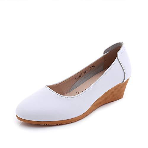 B FLYRCX Chaussures en Cuir à Talon compensé Confortables Chaussures antidérapantes pour Femmes Chaussures d'extérieur Sandales 37 EU