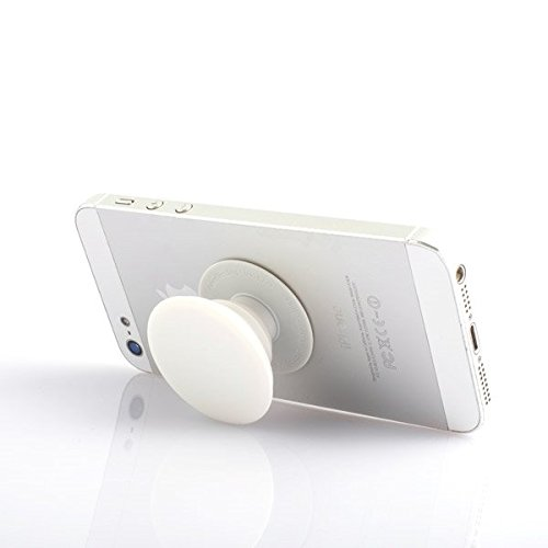White Phone PopSocket Style Stand Cell Phone Holder - Phone Grip - Expanding Stand - Prevent Phone from Dropping White (for Phones Tablets and Other Devices)