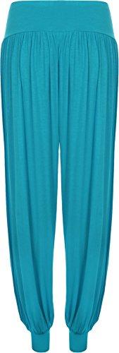 Pantaloni 12 Donna Taglie Turchese Pantaloni Da Formati Donna Lunghezza Forti 26 Piena Casual Elasticizzato Harem qaFg1zx