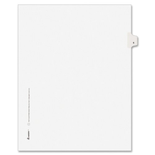 Avery Individual Legal Exhibit Dividers, Avery Style, 6, Side Tab, 8.5 x 11 inches, Pack of 25 (11916)