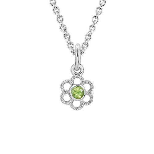 Sterling Silver Children's Peridot August Birthstone Flower Pendant (Birthstone August Flower)