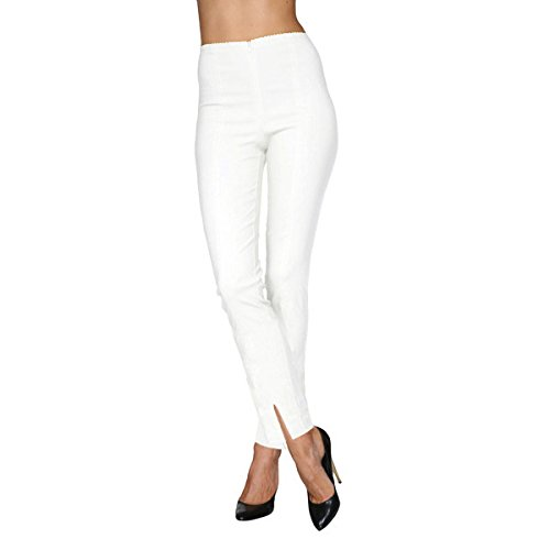 Mesmerize Slit Ankle Length Cigarette Pants White - 6 (Cigarette Ankle)